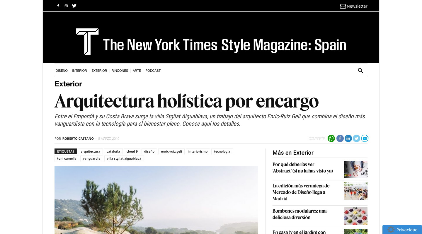 St.Gilat press: T Magazine. (The New York Times)